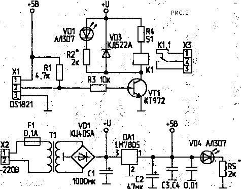 памяти микросхемы DS1821,